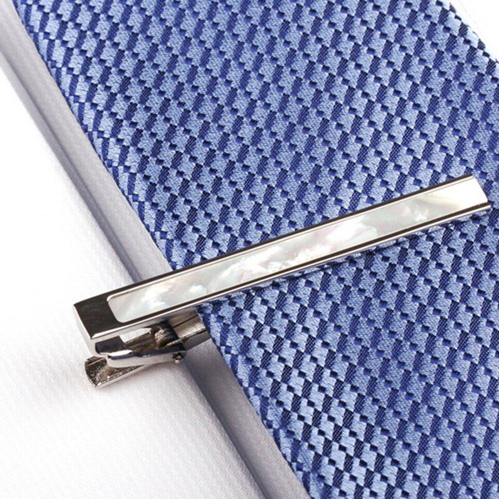 Rulers Tie Clip Navy Blue Silver Tie Bar Clip for Men 2.15 Inch by Merit Ocean by MERIT OCEAN (Image #2)