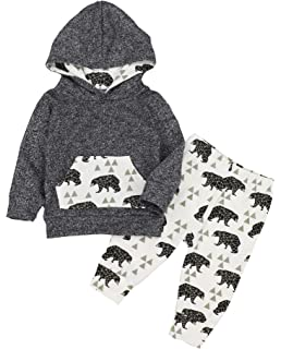 80bd95ee3 Toddler Infant Baby Boys Clothes Bear Long Sleeve Hoodie Tops Sweatsuit  Pants Outfits Set