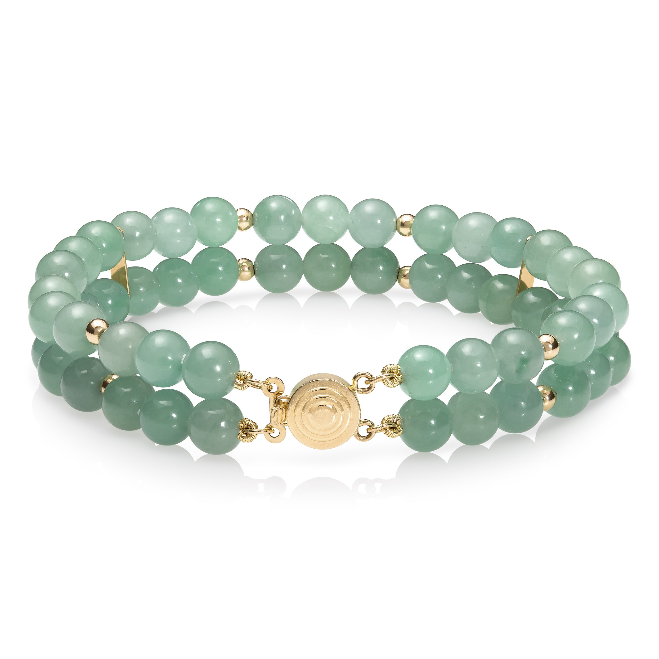 14k Yellow Gold Natural Green Jade 2-Row Strand Bracelet, 7.5'' by Pearlzzz