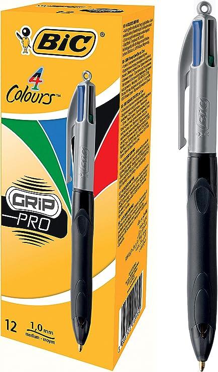 BIC Grip Pro 4 Colours - Pack de 12 bolígrafos con zona de agarre, tinta multicolor: Amazon.es: Oficina y papelería
