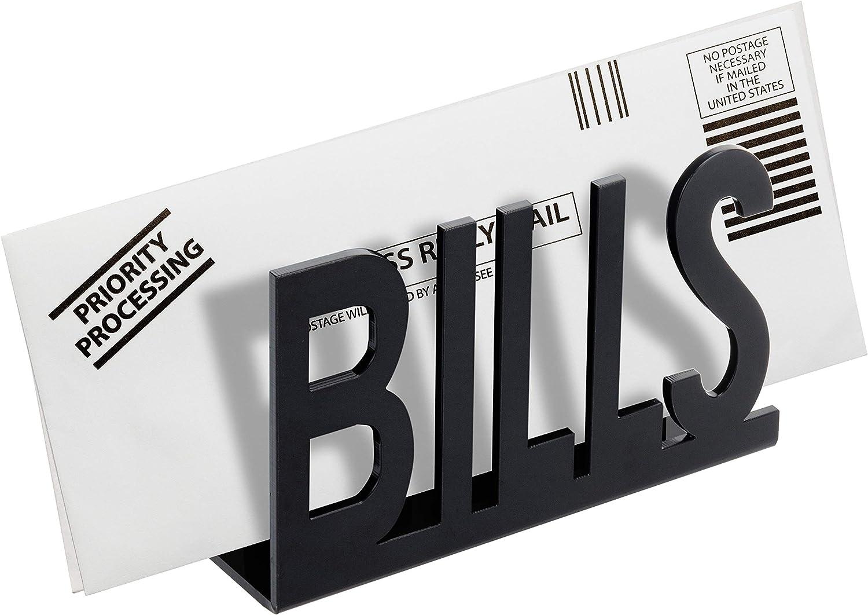 MyGift Black Acrylic Desktop Cutout Bills Design Tabletop Mail Sorter and Letter Holder