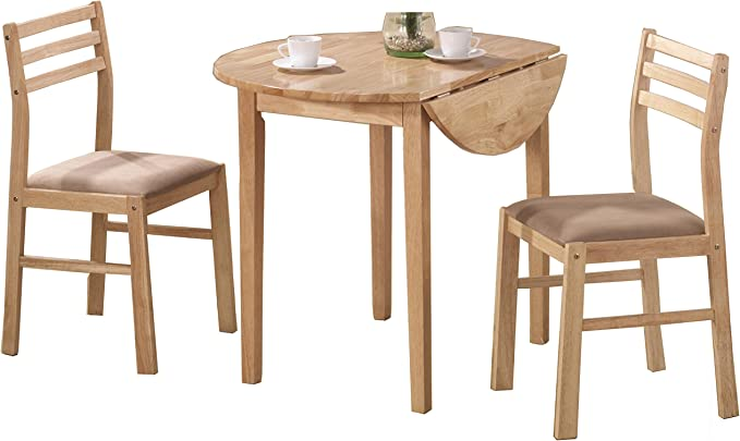 3 Piece Dining Set With Drop Leaf Beige And Natural Table Chair Sets Amazon Com