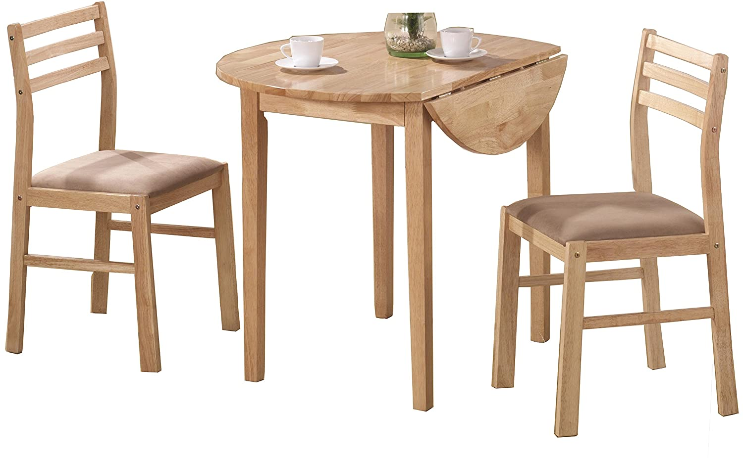 Amazon com 3 piece dining set with drop leaf beige and natural table chair sets