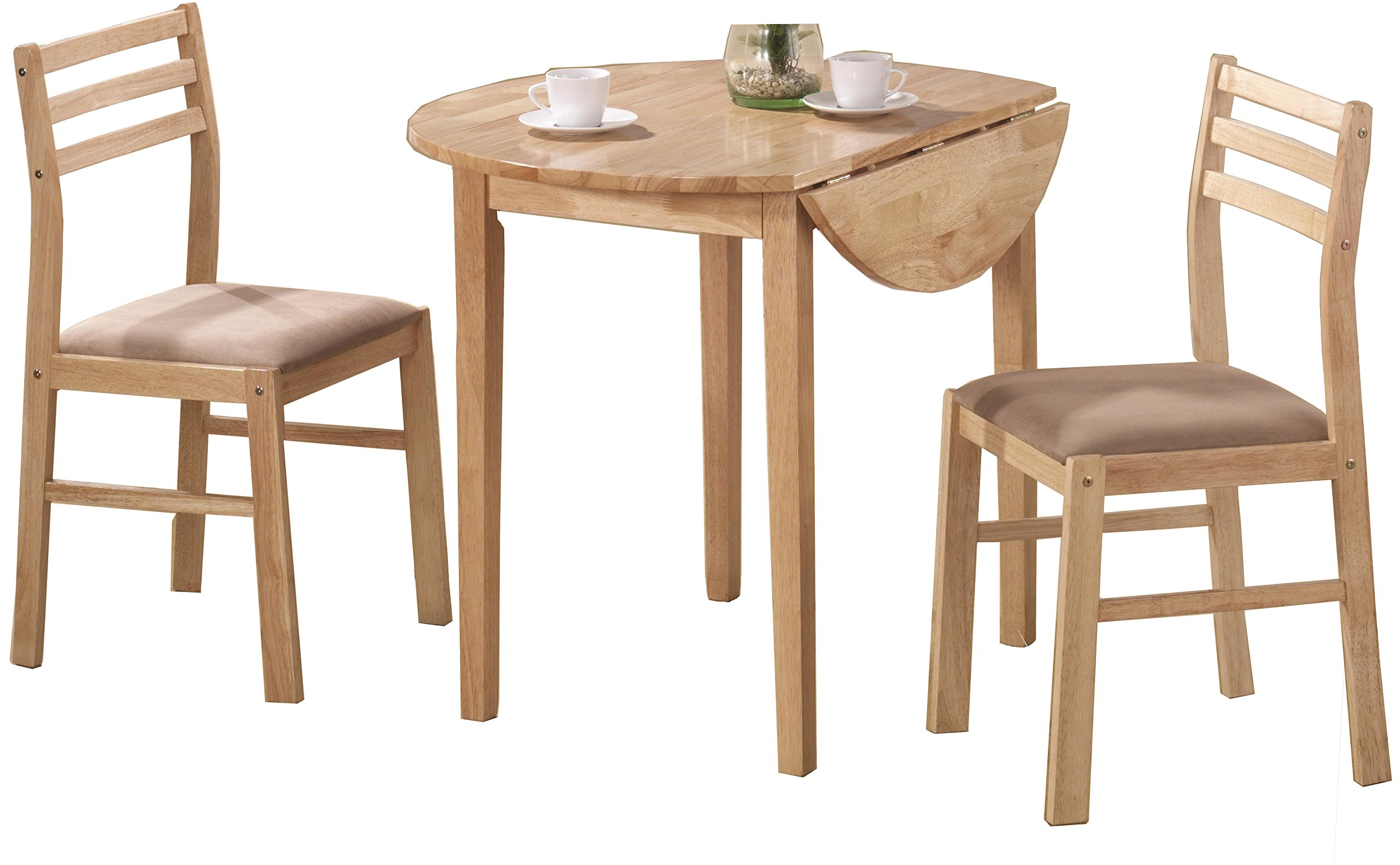 3-piece Dining Set with Drop Leaf Beige and Natural by Coaster Home Furnishings