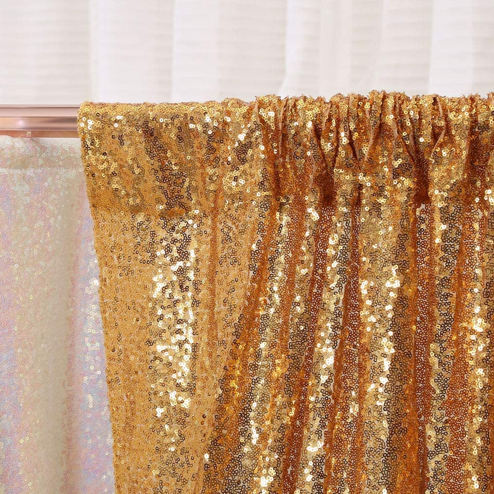 PartyDelight 20ftx10ft Light Gold Sequin Backdrop