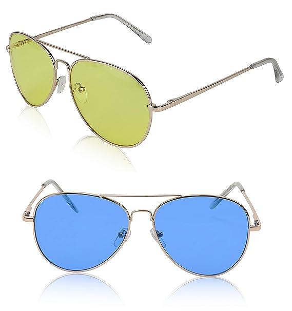 Amazon.com: Gafas de sol clásicas de aviador, marco de metal ...