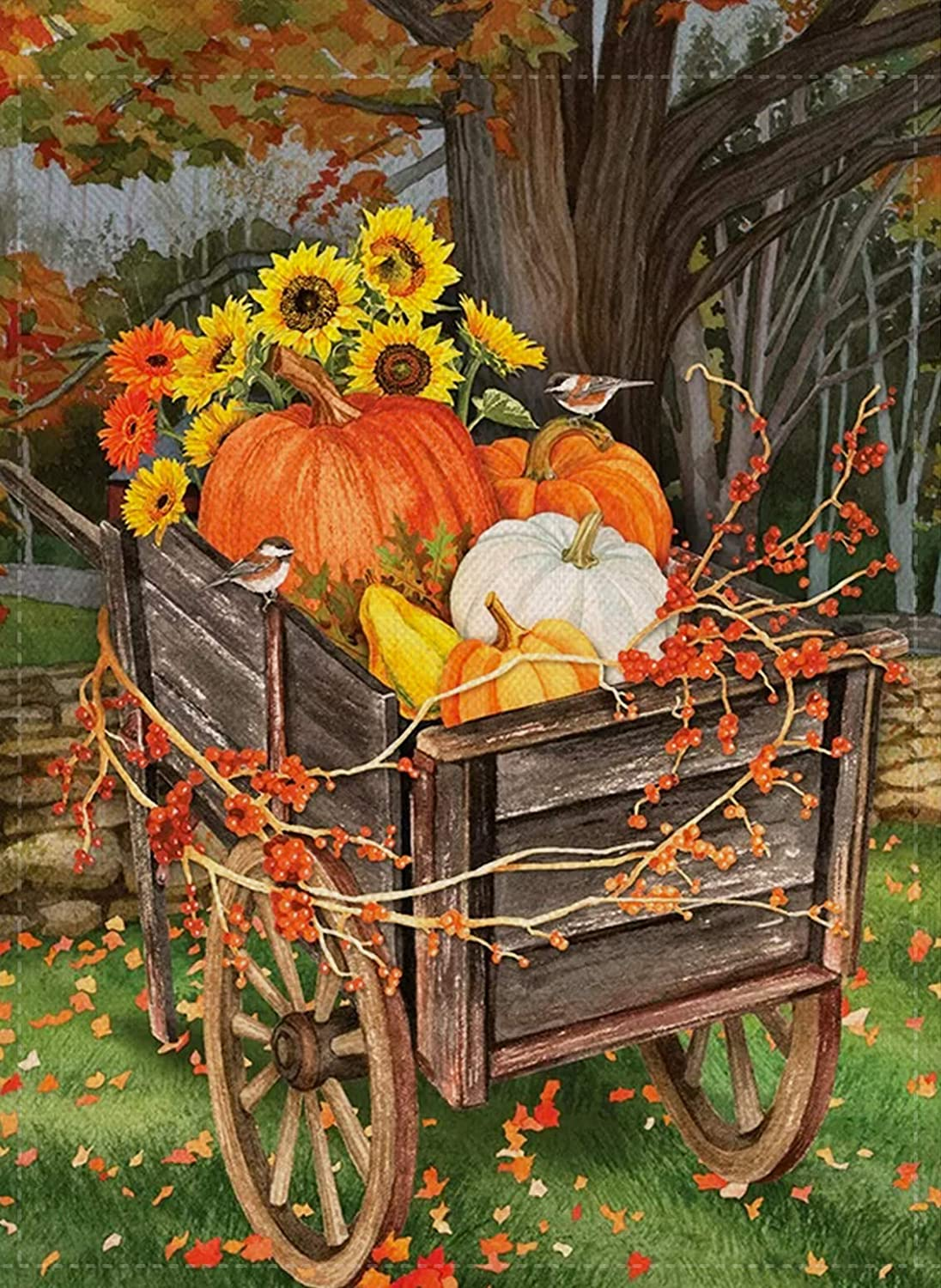 Covido Welcome Fall Garden Flag Pumpkins Cart, Home Decorative House Yard Outside Small Flag Sunflower Birds Maple Decor, Autumn Harvest Outdoor Decorations Seasonal Decor Flag Double Sided 12 x 18