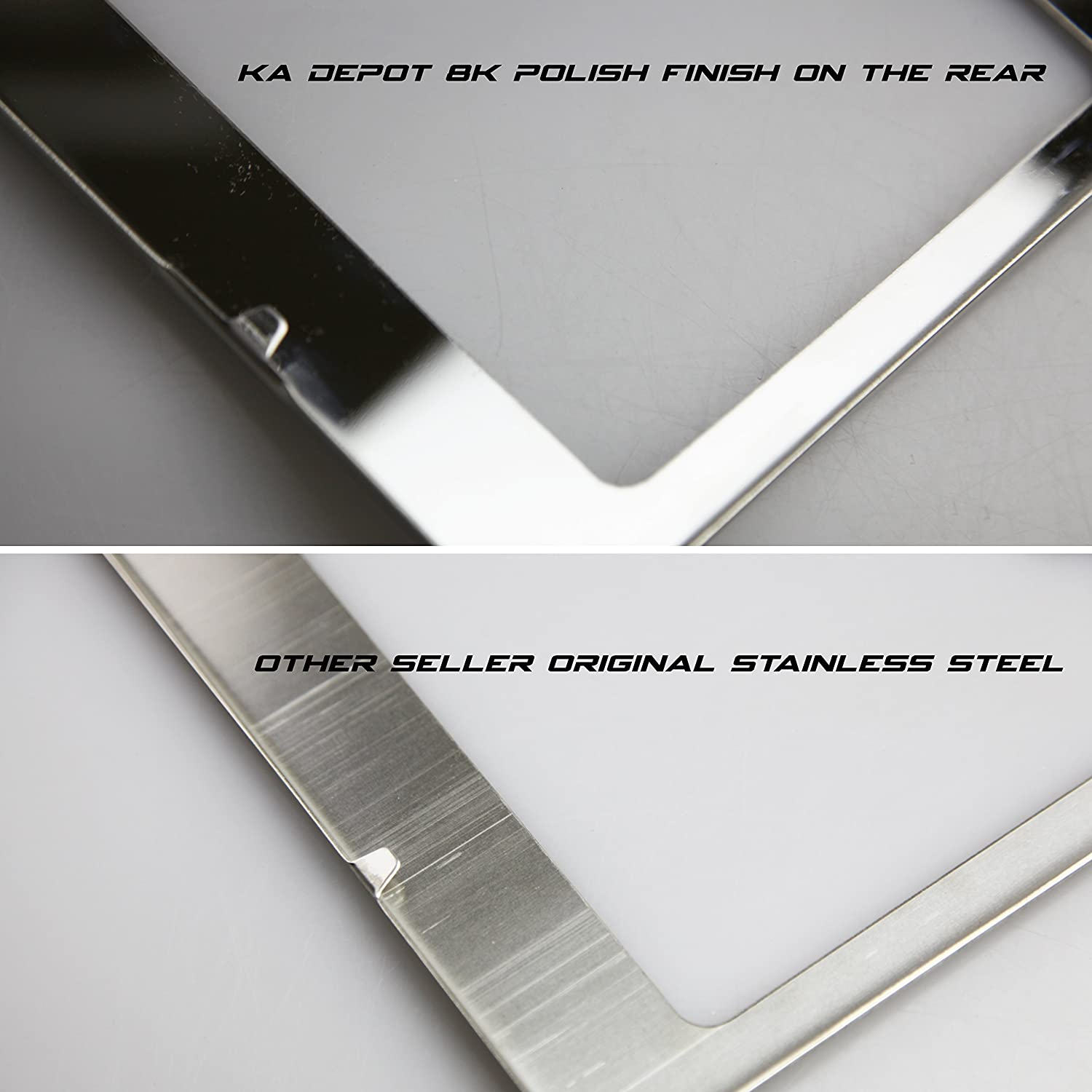Circle Cool T304 Stainless Steel Polish Mirror License Plate Frame Holder Tag w// Chrome Metal Cap
