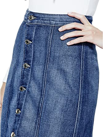GUESS Button-Front Denim Midi Skirt in Trading Post Wash at Amazon ...