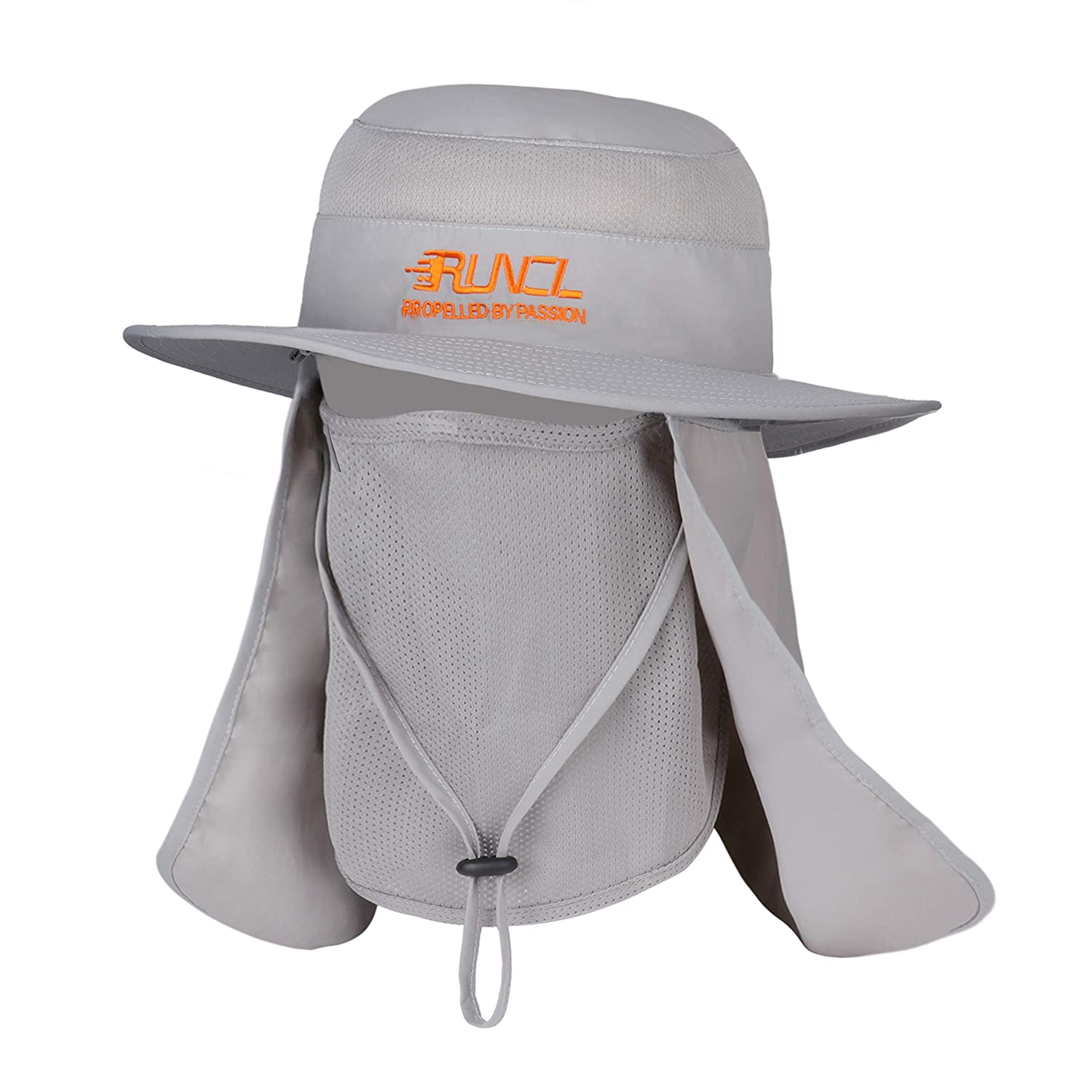 RUNCL Sun Cap, Fishing Hat Sun Protection, Bucket Hat – Wide Brim, Breathable Face Mask, Removable Neck Flap, Adjustable Chin Drawstring – Fishing Hiking Cycling Traveling Landscaping Mowing