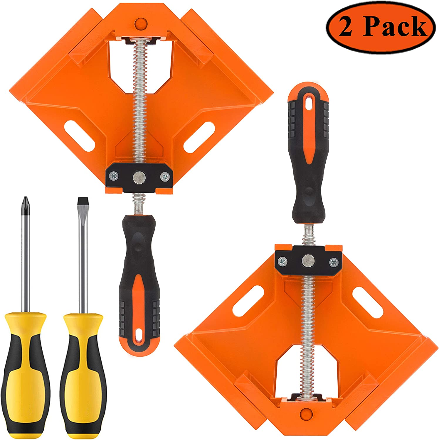 LEATBUY Angle Clamps 90 Degree Right Corner Holder Welding Clamp 2pcs Orange Perfect for Carpenter Wood-Working Engineering Vise Adjustable Swing Bench Tool