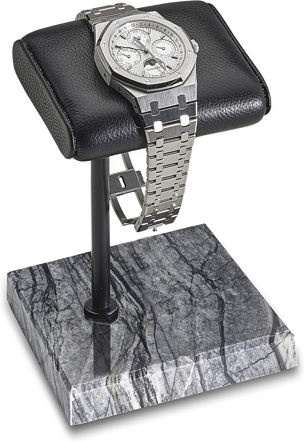 Handcrafted Leather & Marble Watch Display Stand for Rolex, Omega, Patek Philippe, Audemars Piguet, Richard Mille, Breitling, Tudor, Cartier, TAG Heuer (Black/Black/Black)