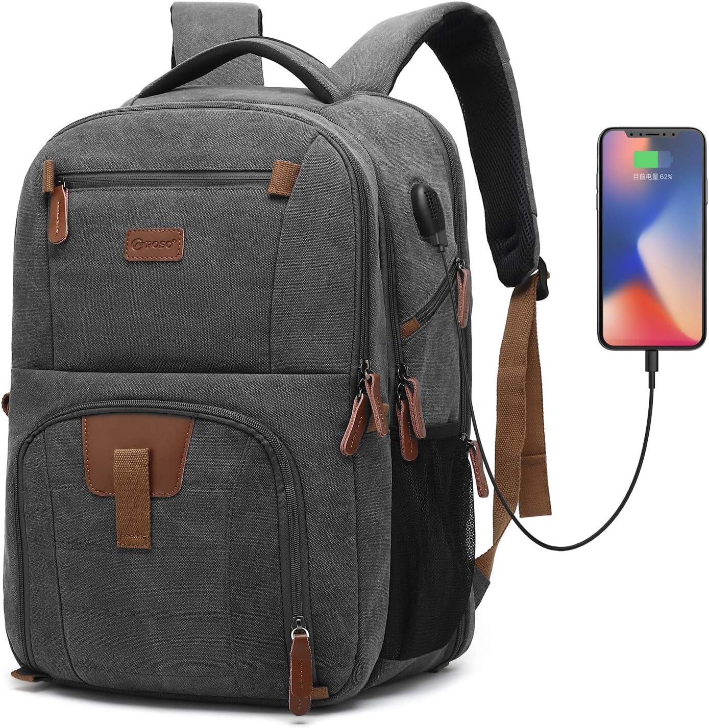 POSO Laptop Travel Backpack 17.3 Inch Computer Bag with USB Port Business Rucksack Hiking Knapsack Multi-Compartment Men Backpack for Dell Alienware Series/HP/Lenovo/Acer (Canvas Dark Grey)