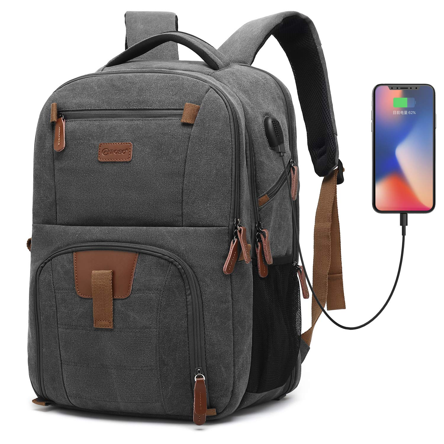 POSO Laptop Travel Backpack 17.3 Inch Computer Bag with USB Port Business Rucksack Hiking Knapsack Multi-Compartment Men Backpack for Dell Alienware Series/HP/Lenovo/Acer (Canvas Dark Grey) by POSO