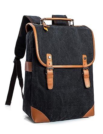 Leaper Vintage Casual Canvas Backpack Travel Rucksack Book bag School Bag  Black f0725c1fed