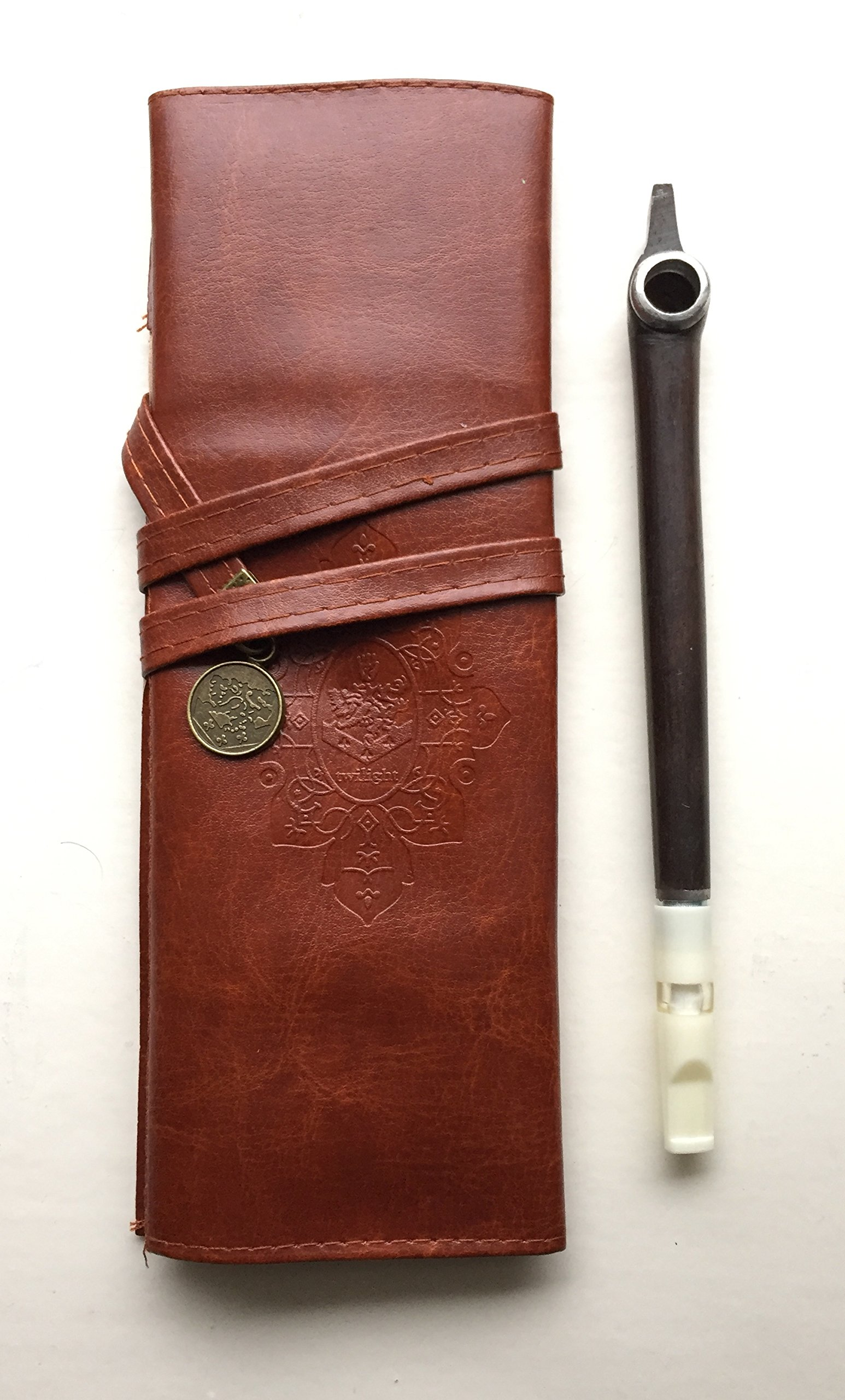 Wooden Medwakh Iranian/Arabian UAE Dokha wooden Pipe with Leather Brown Case ((Classic A))