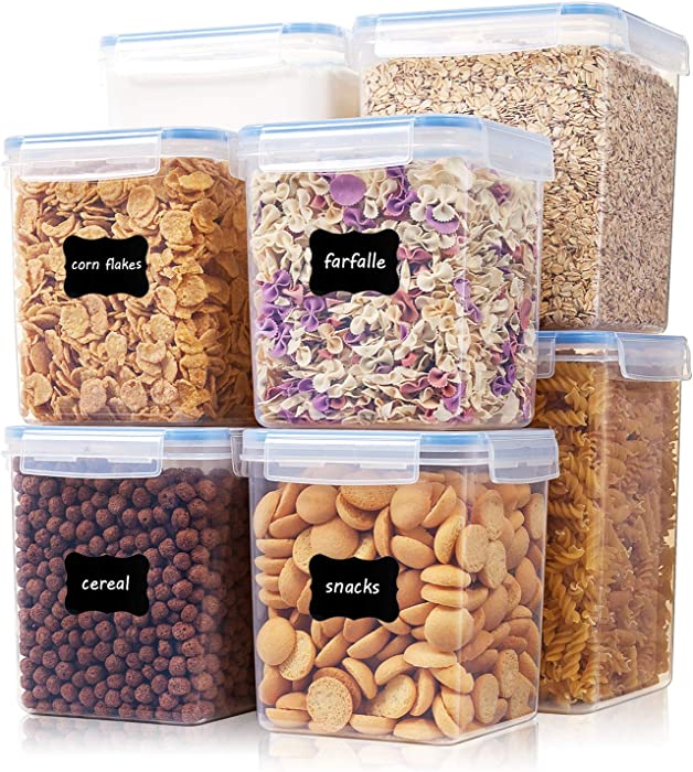 Extra Large Tall Airtight Food Storage Containers 8 Pieces, Vtopmart BPA Free Plastic Kitchen Storage Containers for Bulk Food, Flour, Sugar and Baking Supplies, with 4 Measuring Cups and 24 Labels