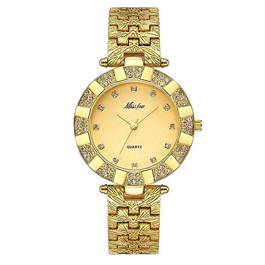 Reloj de pulsera de cuarzo para mujer, estilo informal, moderno, delgado, resistente al agua, con diamantes de imitación dorados y acero inoxidable: ...