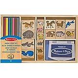 Melissa & Doug trästämpel set: Djur - 16 frimärken, 7 färgade blyertspennor, stämpel dyna