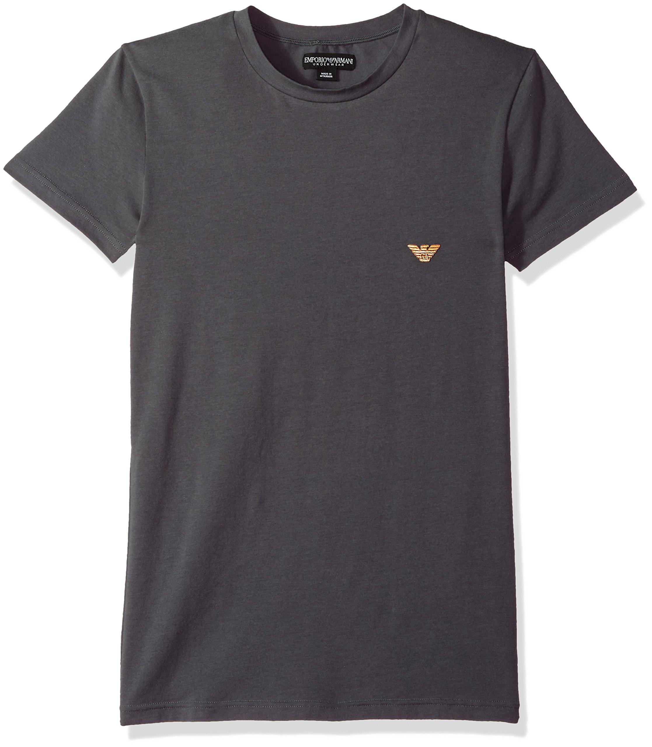 Emporio Armani Men's Metal Logo Band Crew Neck T-Shirt, Dark Grey, M
