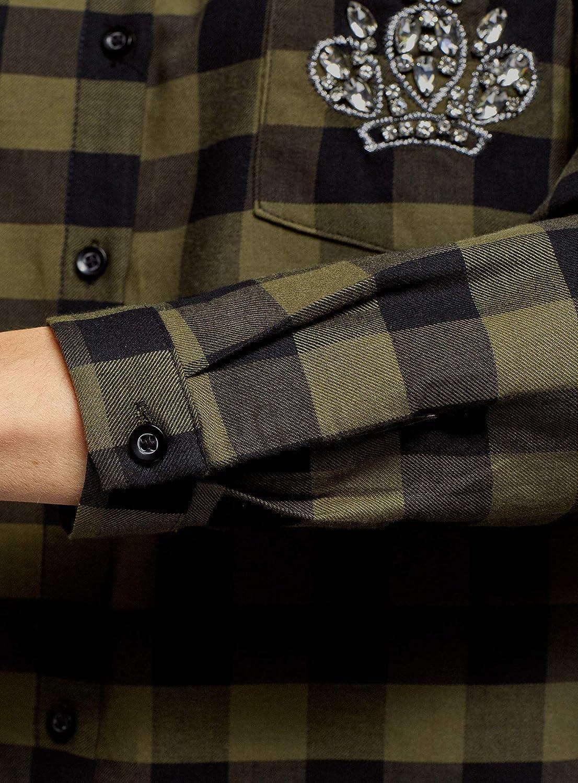 oodji Ultra Donna Camicia in Cotone con Applique su Taschino