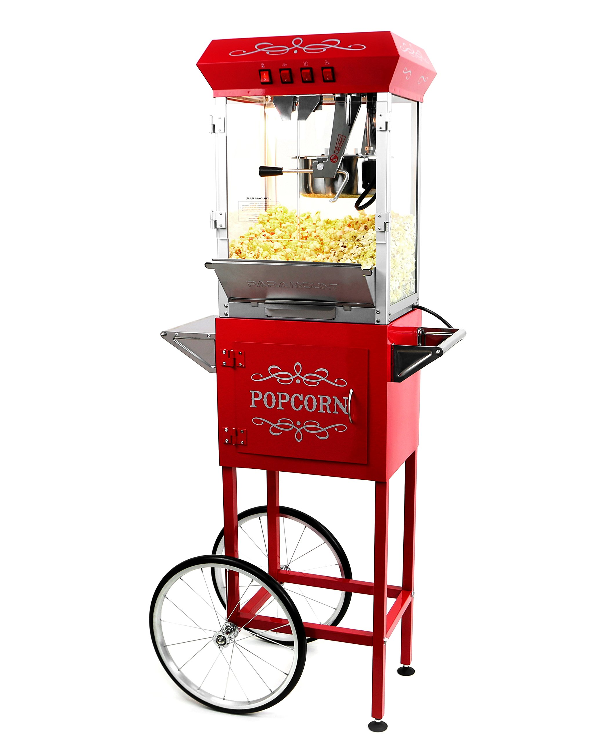 Paramount 8oz Popcorn Maker Machine & Cart - New Upgraded Feature-Rich 8 oz Hot Oil Popper [Color: Red]