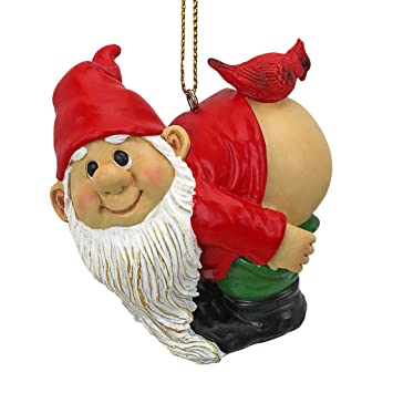 design toscano christmas ornament garden gnomes figurine loonie moonie gnome naughty gnomes