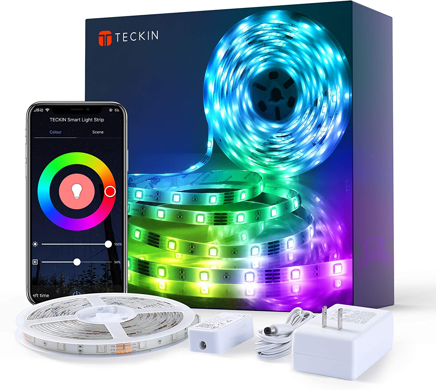 TECKIN Smart WiFi LED Strip Lights Works with Alexa, Google Home 5050 LED, 16 Million Colors Phone App Controlled Music Light Strip for Home, Kitchen, TV, Party, for iOS and Android, 16.4ft