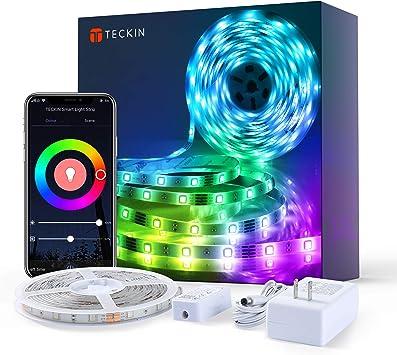 TECKIN Tiras LED RGB Wifi 5M 5050 SMD Tira de Luces Colores Inteligente funciona con Alexa Móvil Google Home,Multi-Modos para Navidad,TV,Dormitorio,Fiesta y Decoración: Amazon.es: Bricolaje y herramientas