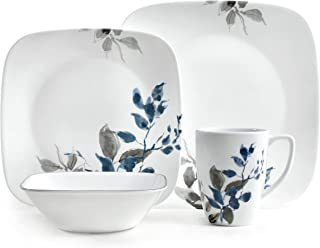 product image for Corelle Kyoto Night Chip & Break Resistant 16pc Dinner Set, Service for 4, Porcelain, Grey & Blue, 16-piece