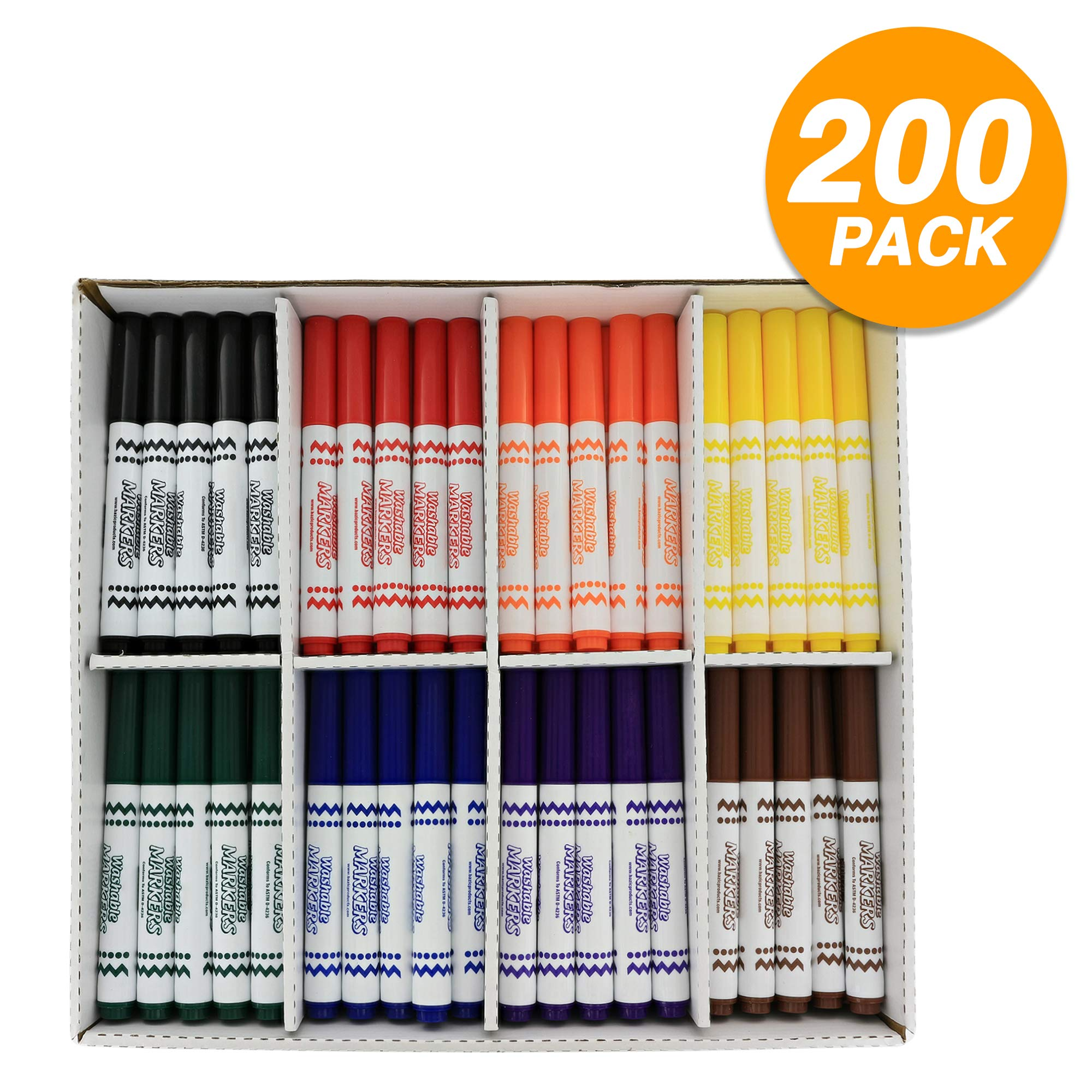 Emraw Super Broad Line Jumbo Washable Markers Dry Erase Marker Whiteboard Pens Set Fine Point Conical Tip for Kids Classroom Children - Great for School, Home, Office - Classroom Pack (200 Ct)