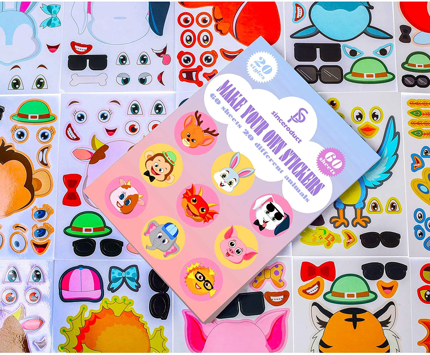 Sinceroduct Make Your Own Stickers of 60 Pack Party Favor Make an Animal Face