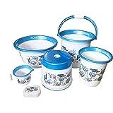 EMPORIUM Deluxe Bathroom Set, 6 Piece (25 LTR Bucket, Deep Tub, Dustbin, Patla, Mug, Soapcase)