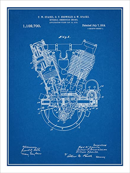 Amazon 1914 spacke v twin motorcycle engine patent print art 1914 spacke v twin motorcycle engine patent print art poster unframed blueprint 18quot malvernweather Images