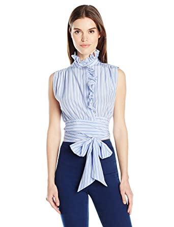 03cab42c04569c Amazon.com  MILLY Women s Short Ruffled Wrap Top  Clothing