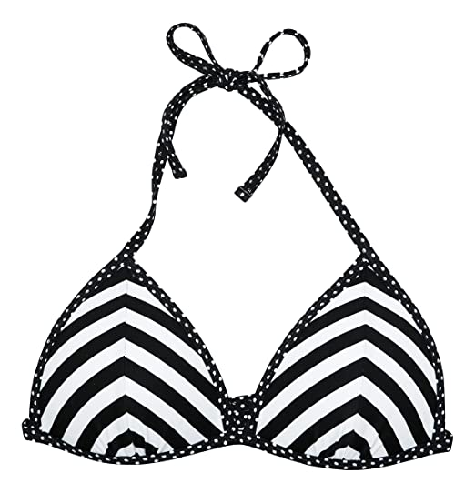 2015867f99277 Amazon.com: California Waves Striped Push-Up Triangle Bikini Top Medium  Black/White: Clothing