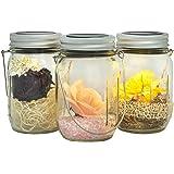 Gadgy ® farolillos decorativos | Lámpara Solar Mason Jar Tarro Cristal Set | 3 Piezes con 5 LED's Luz Blanca Cálida | Jarra Jardín Exterior Interior Colgar Farol [Clase de eficiencia energética A++]