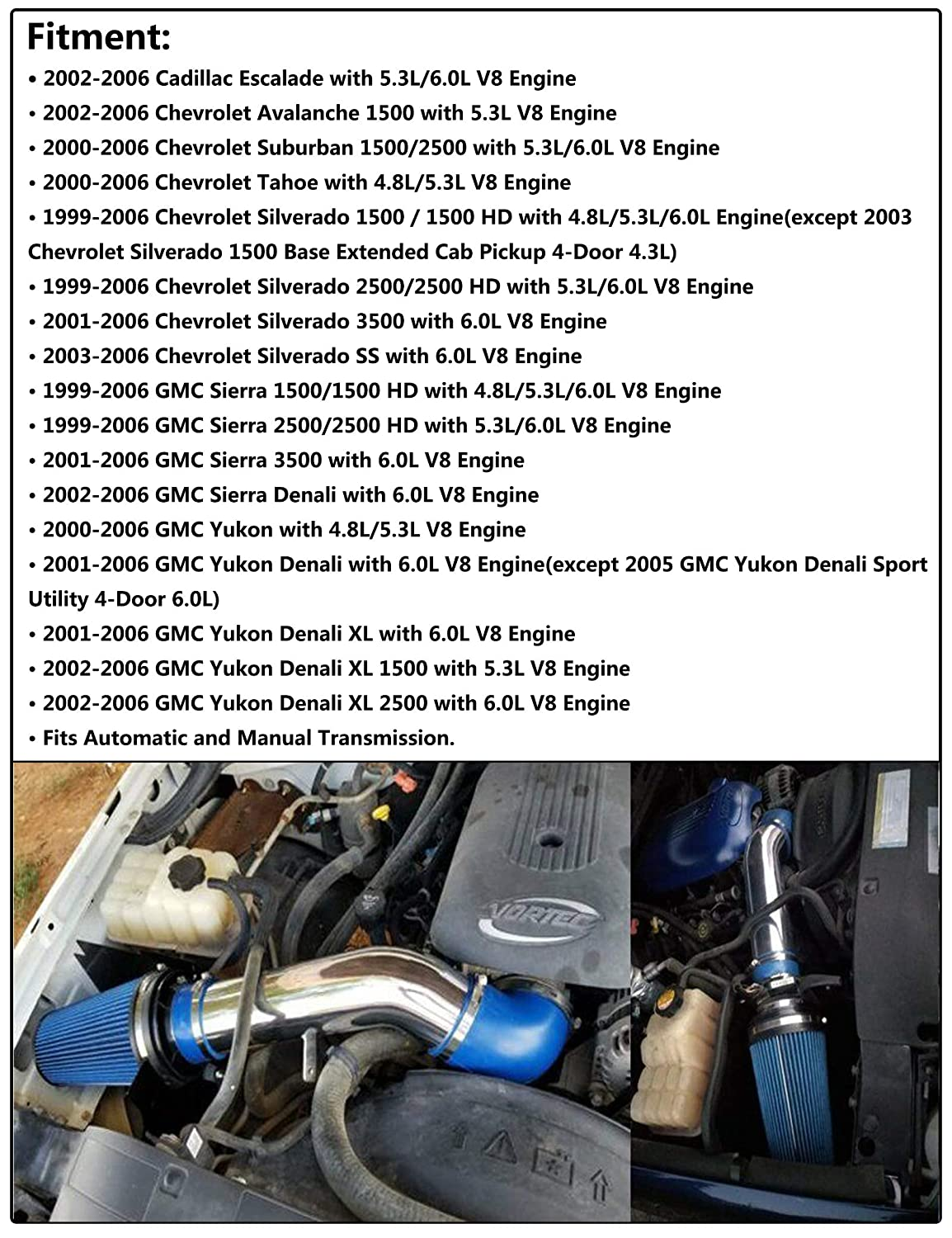 JIUAUTOPARTS 4 Cold Air Intake System Kit with Heat Shield Filte Fit for 1999-2006 Chevy//GMC//Cadillac Avalanche Suburban Tahoe Silverado Sierra Yukon Escalade 4.8L 5.3L 6.0L V8 Blue