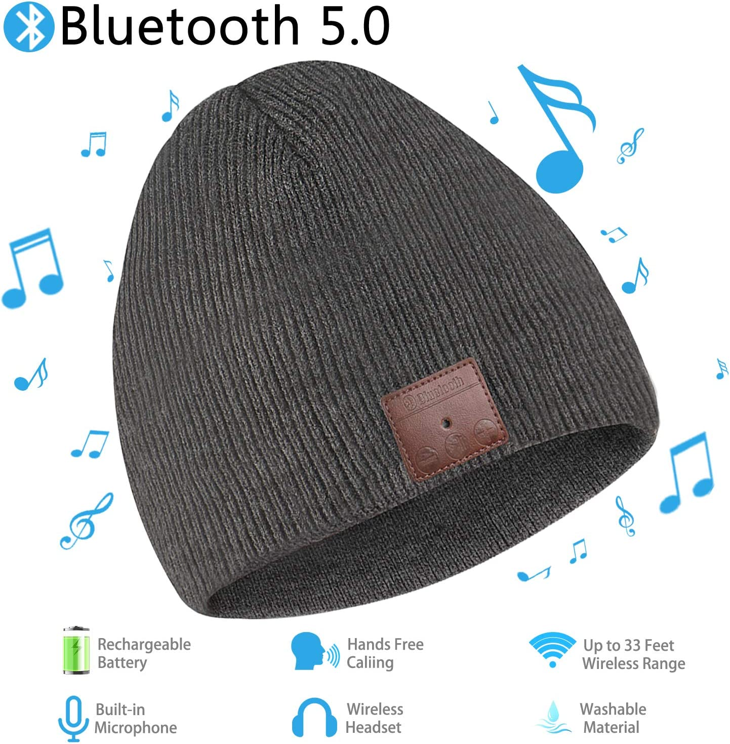 Bluetooth Beanie, Unisex Wireless Bluetooth Beanie Winter Knit Hat, Bluetooth V5.0 HD Stereo Musical Headphones Earphones with Speakers Beanies Hats Cap, Unique Christmas Tech Gifts for Men Women