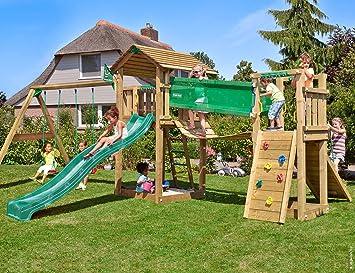 Jungle Gym Cottage Bridge 2-Swing Verde Oscuro Parques Infantiles de Madera para Jardin con Tobogan y Columpio: Amazon.es: Juguetes y juegos