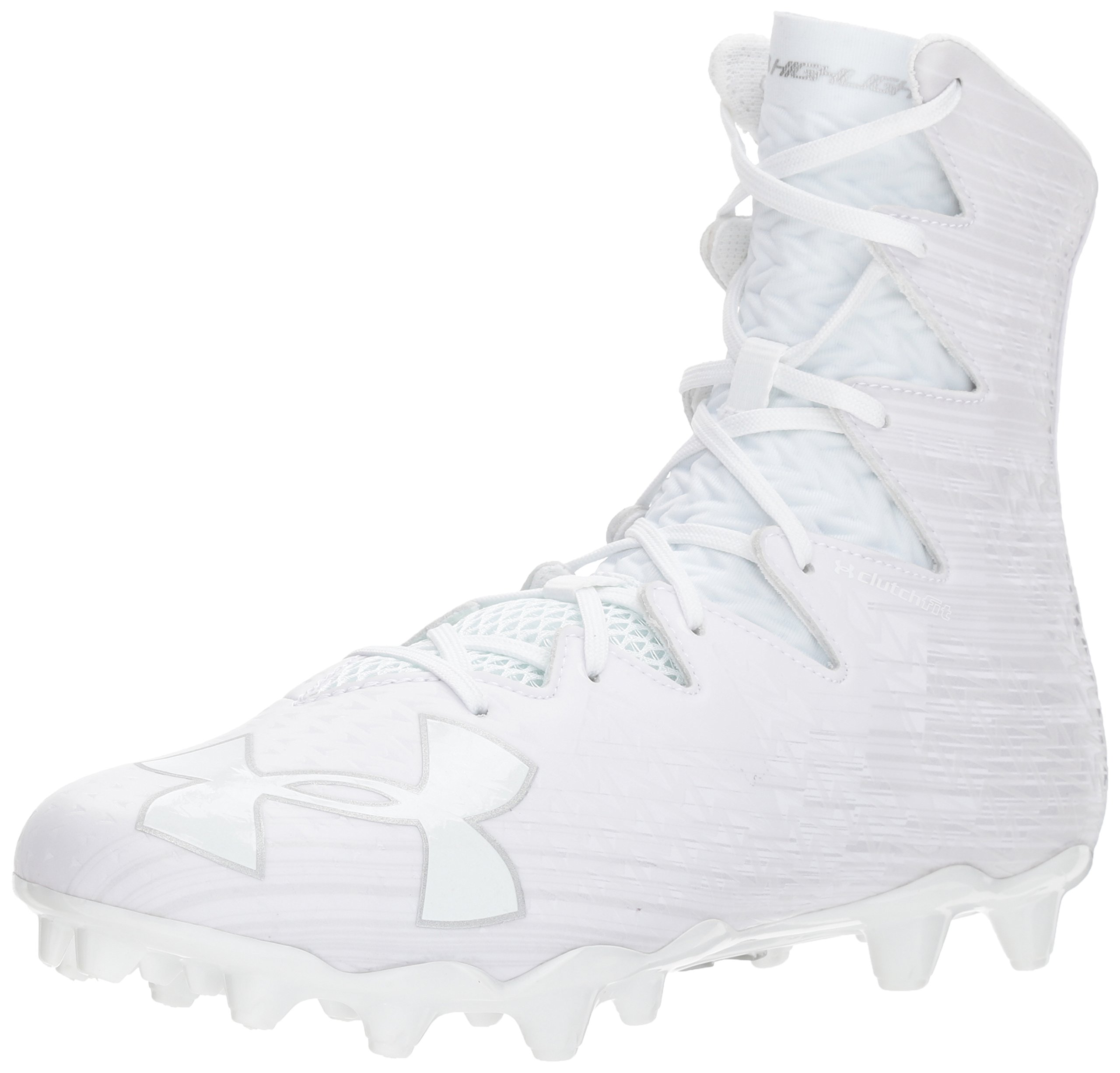 Under Armour Men's Highlight M.C. Lacrosse Shoe, White (100)/Metallic Silver, 11.5 by Under Armour