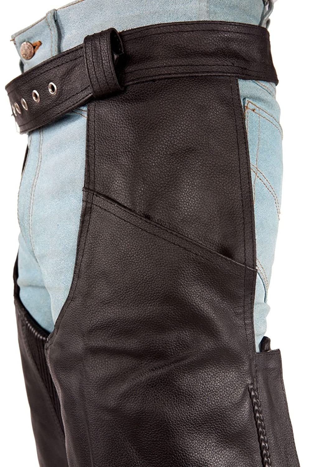 Dream MENS MOTORCYCLE BLACK LEATHER RIDING CHAP PANTS BRAIDED COW HIDE LEATHER NEW 3XL Regular