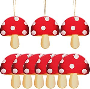 24 Pieces Red Mushroom Ornaments Christmas Wooden Red Mushroom Ornaments Wood Slices Crafts Set with 24 Pieces Twines for DIY Crafts Christmas Hanging Ornaments Holiday Decorations