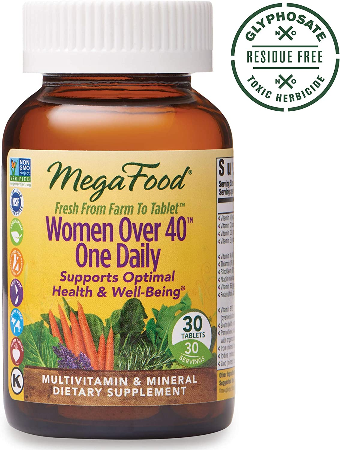MegaFood, Women Over 40 One Daily, Daily Multivitamin and Mineral Dietary Supplement with Vitamins C, D, Folate, Biotin and Iron, Non-GMO, Vegetarian, 30 Tablets (30 Servings) (FFP)