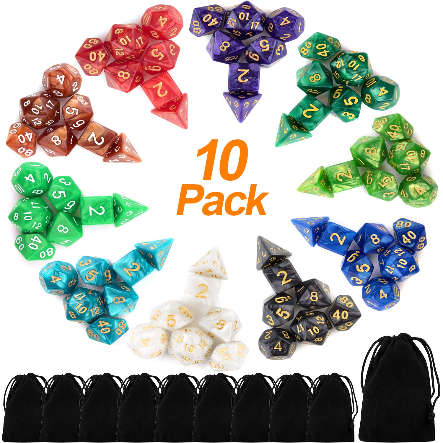 10 X 7 Polyhedral Dice Set (70 Pieces) for Dungeons and Dragons DND RPG MTG Table Games D4 D6 D8 D10 D% D12 D20 with 10 Pack Black Bags, 10 Colors by Awpeye