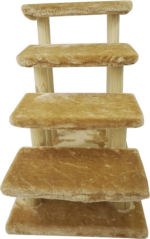 Escalera de madera para mascotas HAIBEIR, escalera de 4 pasos, escaleras para perros y gatos con alfombra desmontable para cama alta y sofá: Amazon.es: Productos para mascotas