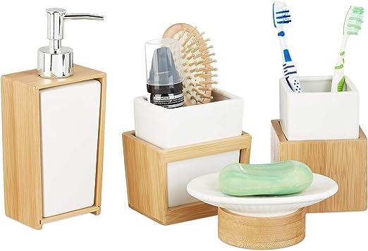 4 Piece Bamboo  Bathroom Accessory Set