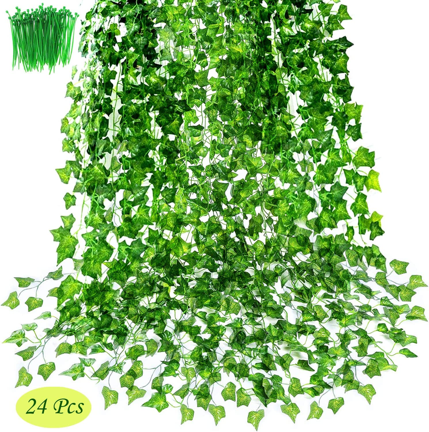"""OrgMemory Artificial Ivy, Fake Ivy, (24Pack, 85"""" Each, 100Pcs Cable Tie), Greenery Garlands Hanging for Wedding Party Garden Decor"""