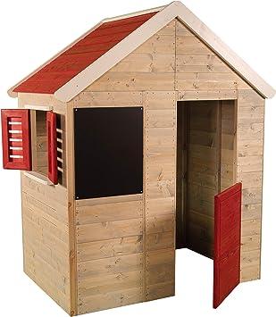 Casita infantil de madera para exteriores | Casa de jardín para niños tipo abierto tipo S con pizarra, ventana, persianas, media puerta: Amazon.es: Juguetes y juegos