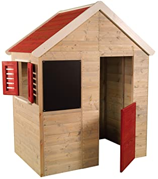 Casita infantil de madera para exteriores | Casa de jardín para niños tipo abierto tipo S con pizarra, ventana, persianas, media puerta: Amazon.es: Juguetes ...